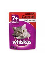 racao-umida-whiskas-sache-adulto-7--para-gatos-sabor-carne-ao-molho