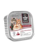 alimento-umido-three-cats-pate-paladar-exigente-sabor-carne-para-gatos-adultos